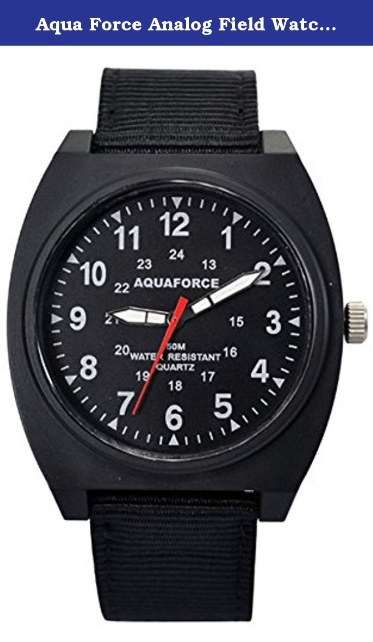 Aqua Force Analog Field Watch with 40mm Black Face. The AQUAFORCE FIELD WATCH features 40mm face and stainless steel metal back with a durable nylon strap. The face of the watch has luminous hour markers along with super luminous hands which only require 1 hour sunlight exposure to receive 6 hours of glow in the dark luminescence. The AQUAFORCE FIELD WATCH is also Water Resistant to 50 Meters all AQUAFORCE watches have a 2 year warranty. All watches use a high quality Japanese Quartz…