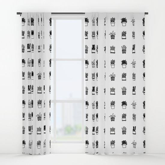 Little Plants Window Curtains by Luisa Méndez | Society6
