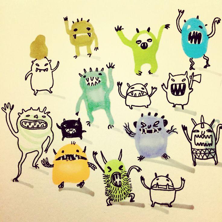 Monsters say hallo by Marie Åhfeldt, Mås Illustra. www.masillustra.se #illustration #drawing #monster #halloween #masillustra