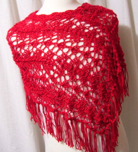 Knitted Poncho, Gorgeous RED RED, Cool evenings from the football stadium to a chilly restaurant.  Size Medium Pattern Measures shoulders across approx 32 X 30 length including fringe> Made by a medium pattern and there is some stretch to the design.  All items packed and stored in a pet free, non smoking studio  Thank you for visiting!   * See shipping policy