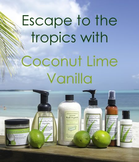 coconut lime vanilla spa items. Lemongrass spa products