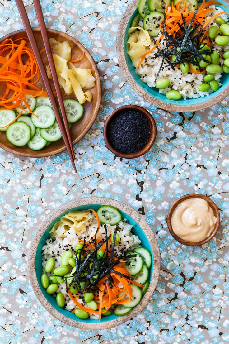 Spicy Veggie Sushi Bowls with Brown Rice and Spicy Mayo
