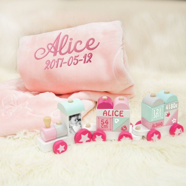 Babyfiltset med namn - Rosa tåg