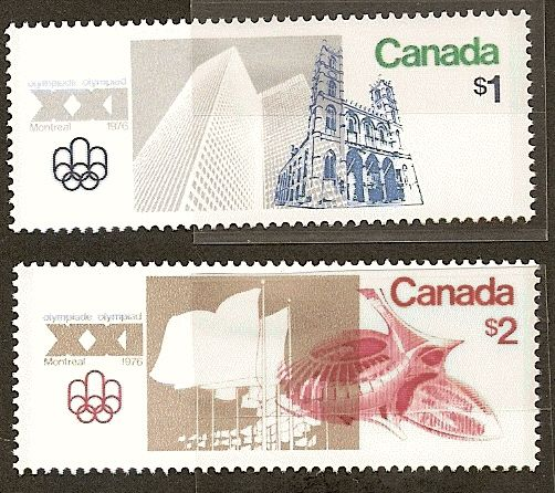 - Two more high value stamps issued by Canada for the 1976 Olympics: A $1 stamp showing Montreal's Notre dame church and the towers of Place Ville Marie, and a $2 depictingdepicting the cities futuristic Olympic Stadium and Velodrome.
