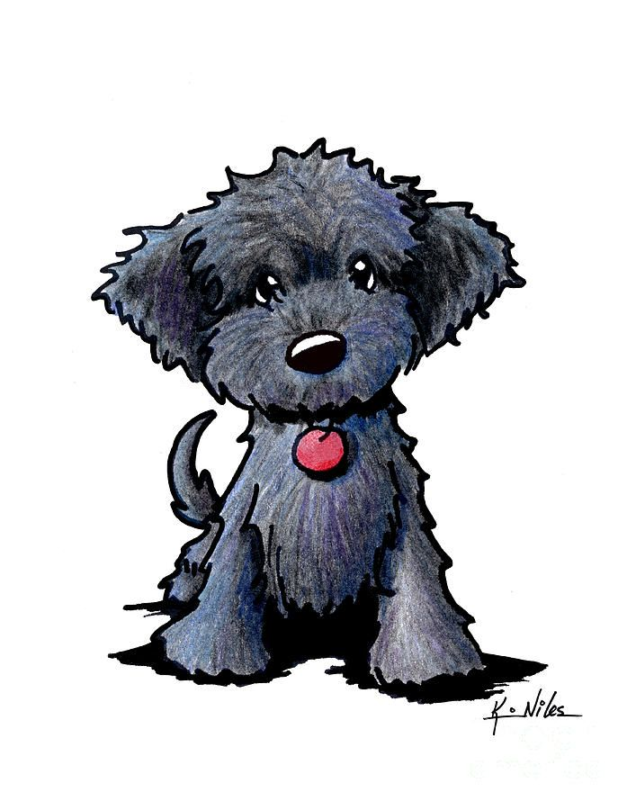 Black Doodle Puppy Drawing by Kim Niles - Tap the pin for the most adorable pawtastic fur baby apparel! You'll love the dog clothes and cat clothes! <3
