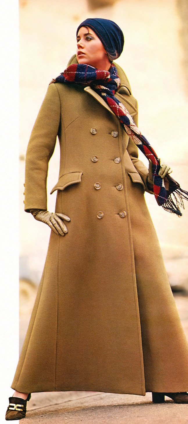 Colleen Corby (Sears Catalog - 1970) I had one similar in navy blue. Impractical for city streets - but I loved it. I felt very dashing in it.