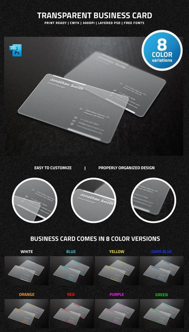 The 378 best free business cards templates images on pinterest clear free transparent business card template in 8 different color combinations available for download as fbccfo Image collections