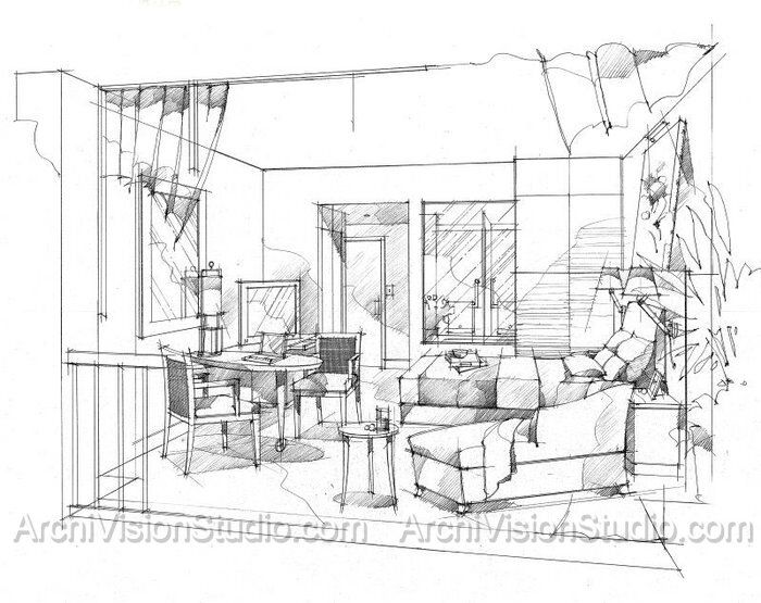 Simple Pen And Ink Drawings Interior SketchInterior DesignSketch