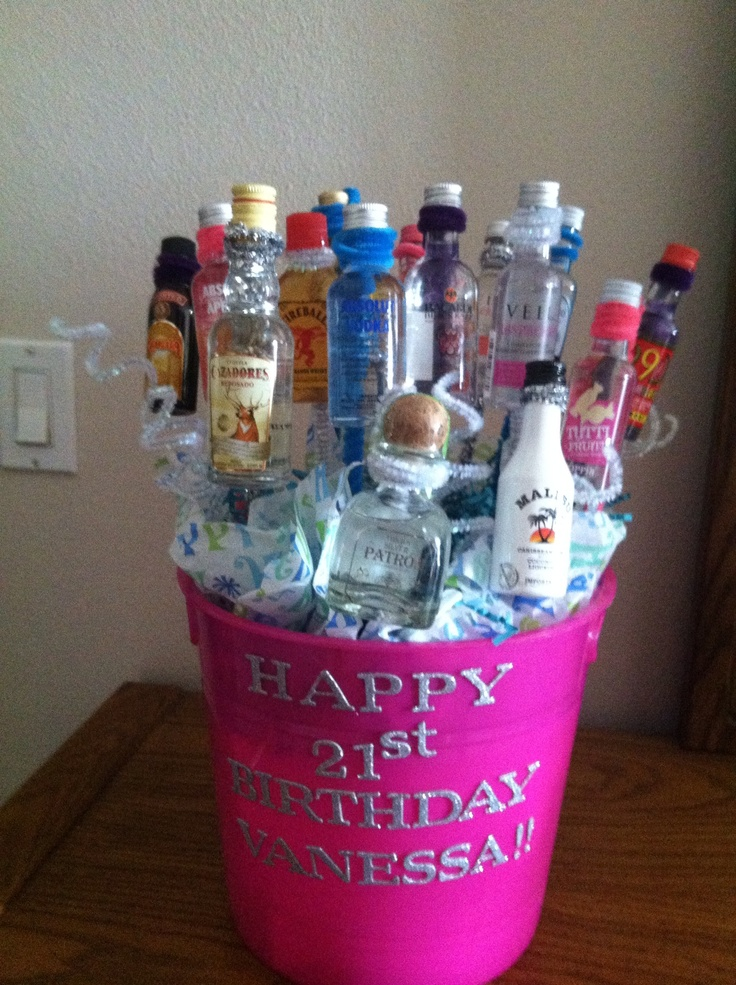 Mini alcohol gift basket for 21st birthday -> BTW, my birthday is Saturday..just so you know!! ;)