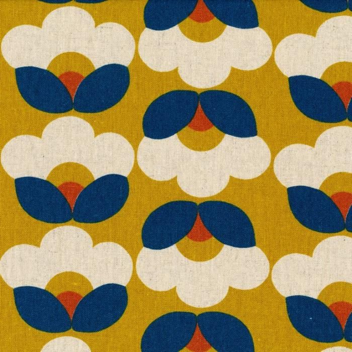 Kimberley Retro Blooms Mustard Gold | Assorted Japanese Fabrics | Fabrics to Inspire - Kelani Fabric  two way