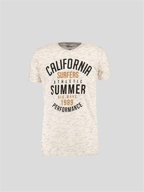 Ecru T-Shirt, Urun kodu: 6YC142Z6-J1F,Product Type:T-shirts,Main Fabric:%75 Cotton %25 Polyester,
