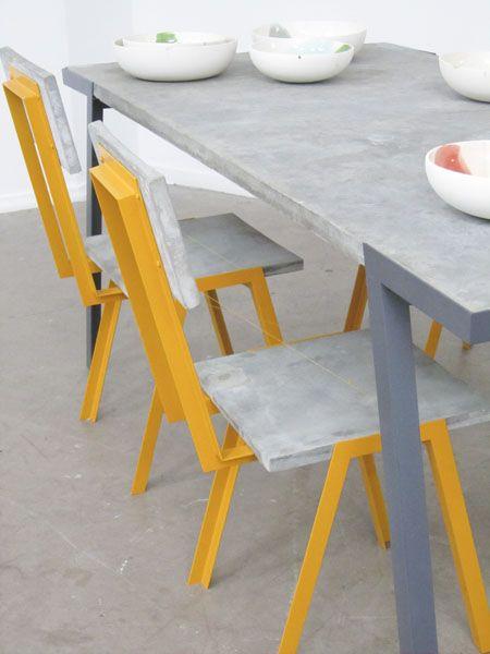 Harm van den Nieuwenhof. Tabel and chairs made of concret and metal.