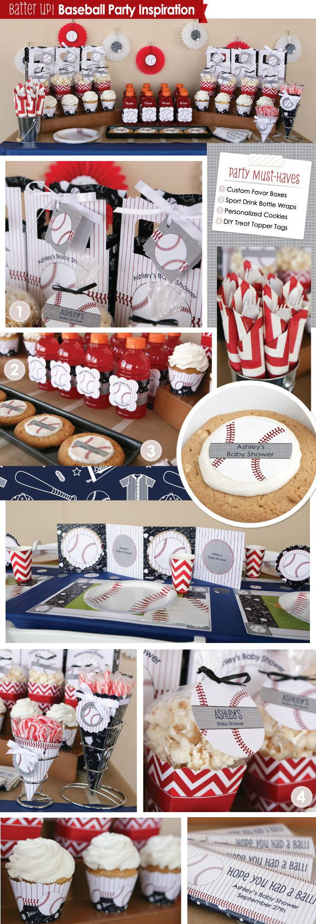 Baseball Party Inspiration Board - Mood Board | DIY Party Decorations - Decorating with a  Baseball Theme #BigDot #HappyDot Baseball Party Supplies