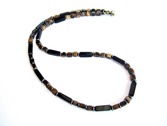 Mens necklace tiger eye and black agate stone beaded