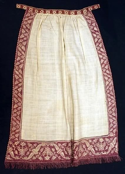 The Met's late period Italian apron with red embroidery