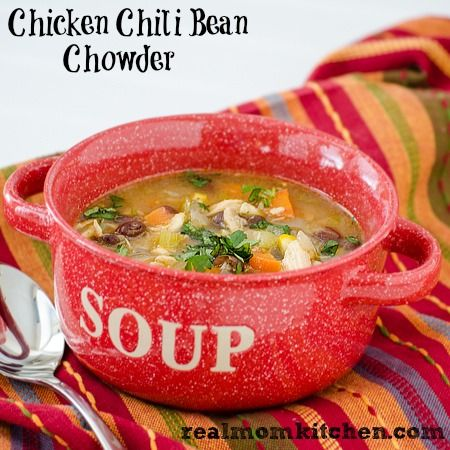 Chicken Chili Bean Chowder | realmomkitchen.com #chowder #soup #recipe