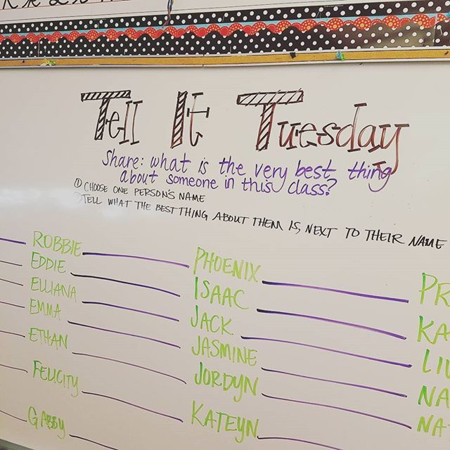 Letting our friends help us start our #bestpartofme writing. #rightbrain #miss5thswhiteboard #missfooteswhiteboard #iteachthird #teachersofinstagram #teachersfollowteachers