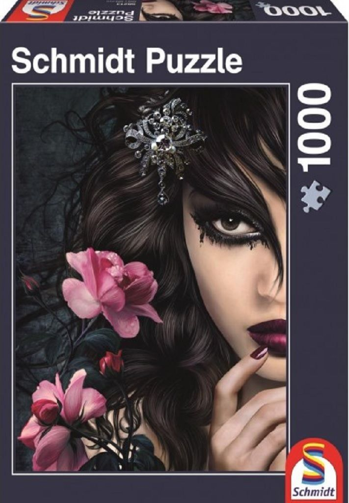 Midnight Rose is a stunning Schmidt puzzle with 1000 pieces and features a gothic woman and rose flowers.