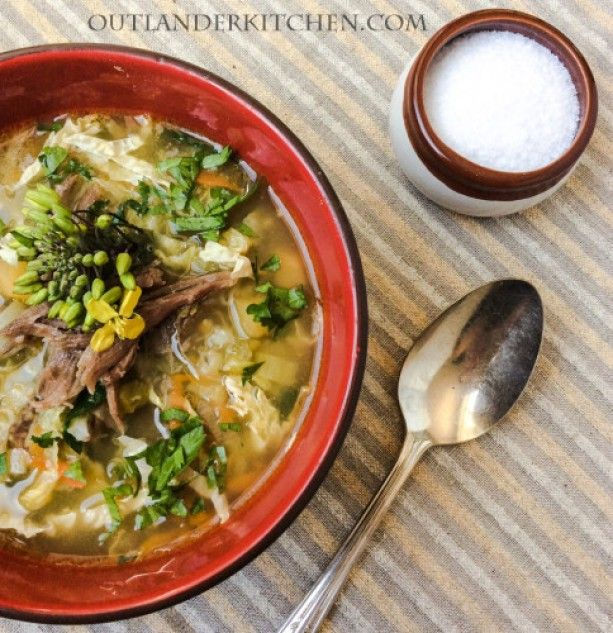 Scotch Broth – Outlander on STARZ Episode 112 -- Going to be making this, and substituting big meaty soup bones for the lamb, and quinoa for the barley to make it gluten free. UPDATE: This turned out great!