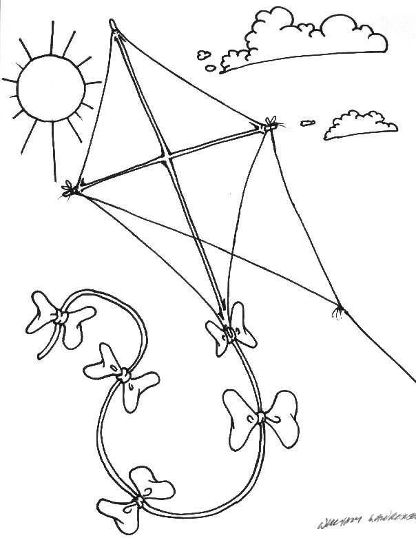 k is for kite coloring page - Kite Coloring Page