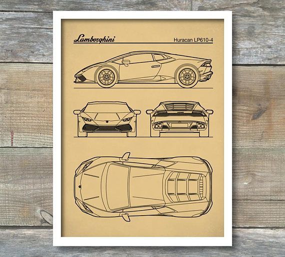 Patent Print Auto Art Lamborghini Huracan Blueprint