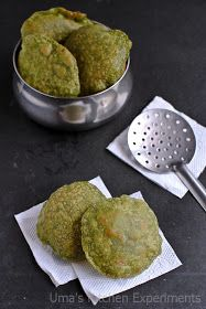 My Kitchen Experiments: Palak Poori / Spinach Poori