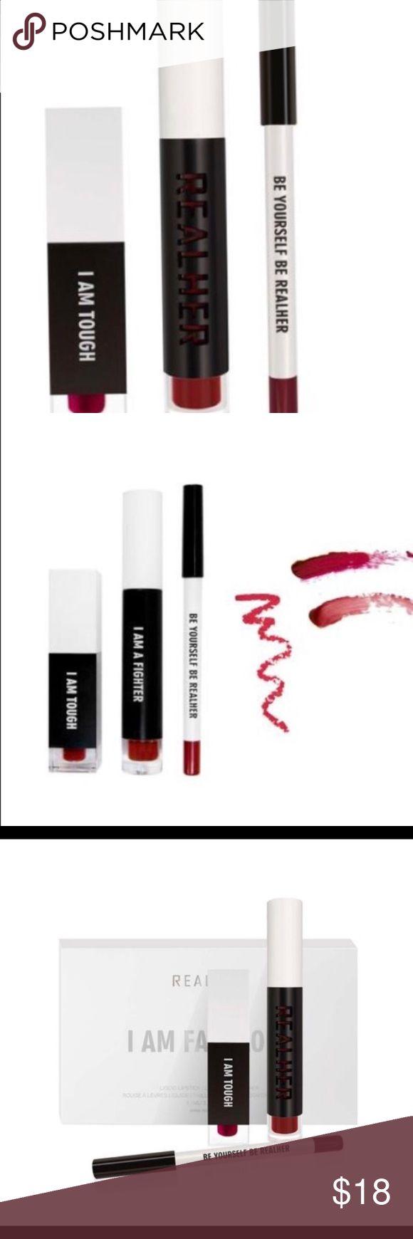 Realher lipstick set nwt I am fabulous deep red New un opened! Realher I am fabulous in deep red Specially Made, Most Popular Lip Kit contains a Matte Liquid Lipstick, Lip Plumping Lip Gloss and a Lip Liner  Size LIQUID LIPSTICK:4.5ML, LIP GLOSS: 3.5ML,  LIP LINER: 1.2G Sephora Makeup Lipstick