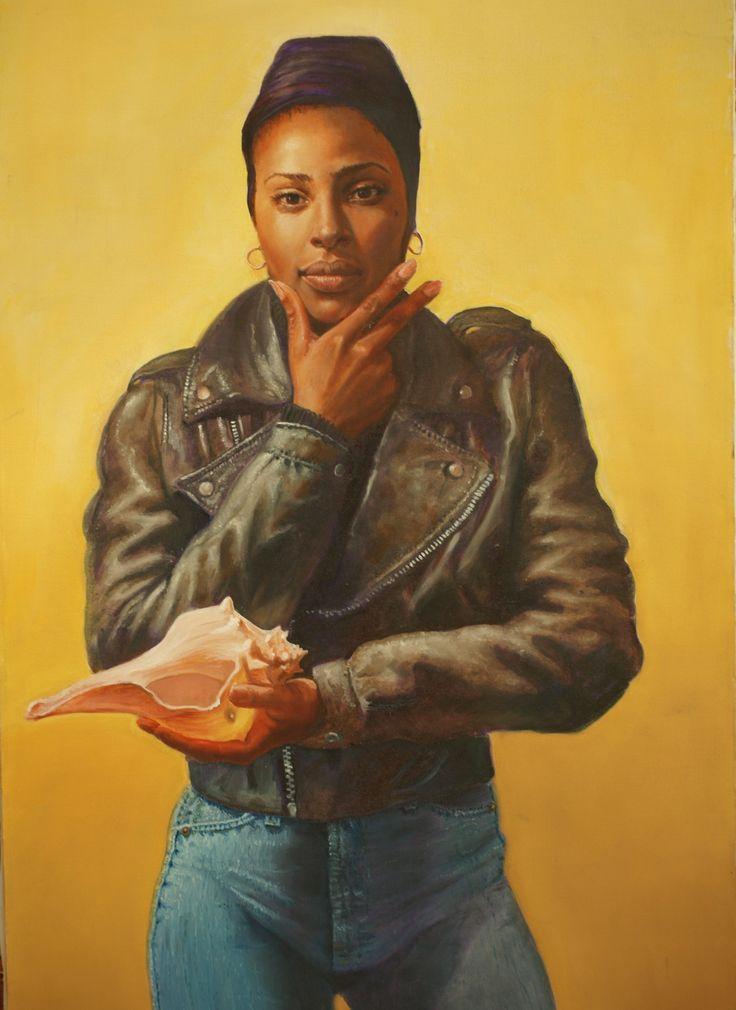 close up of portrait of Lathea Knight by artist Hugh McMunn.