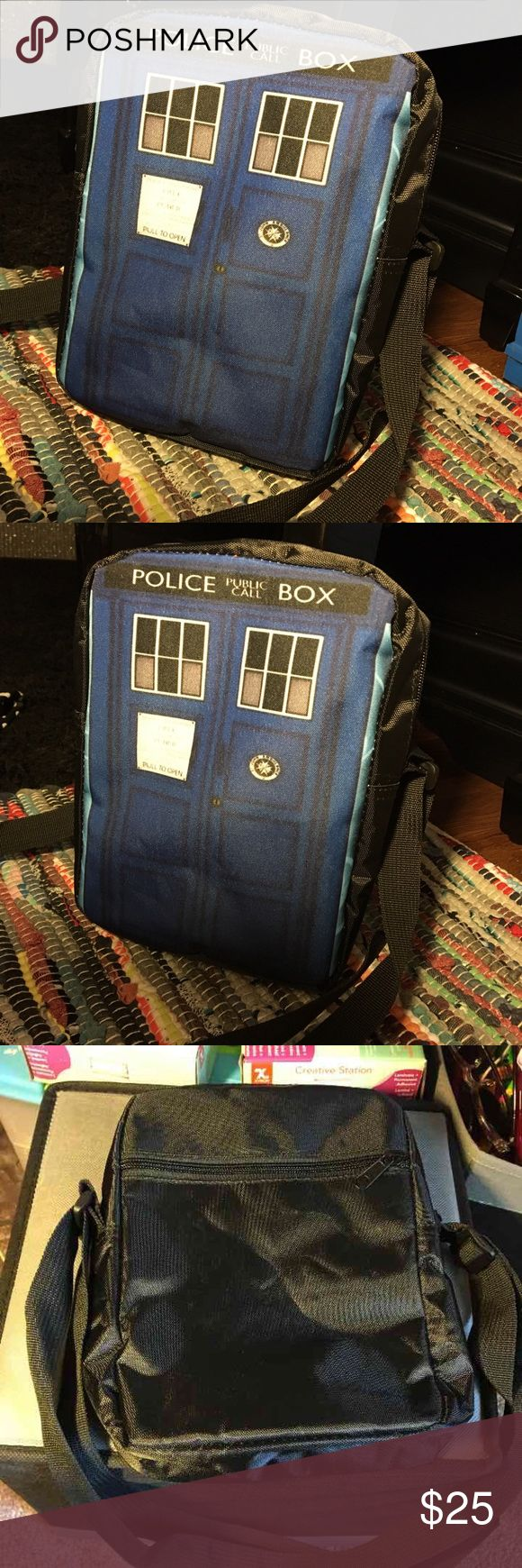 Doctor who tardis purse Band new high quality shoulder bag/ messenger bag ❤strap is adjustable (last one) ❤has one zipper pocket on the back and one open on the inside  ❤size- Length 9inches, width 6 1/2inches, depth 2 1/2inches ❤this is a unique bag so you won't be able to find this bag in any stores like hot topic hottopic, Spencer's, etc  ❤Open to reasonable offers :) ❤have any questions? Feel free to ask! :) Tags~ 10th doctor 11TH doctor David tennant Matt smith adipose trust me I'm the…