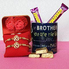 Buy online golden rakhi with mug for brother   #sendrakhi.com  #sendrakhitodelhi  #sendrakhitopune  #designerrakhi  #silverrakhi