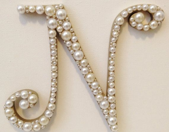 """$42.50 - 5"""" Curly Pearl Monogram Cake Topper Font 2 High by LeandraNDesigns"""