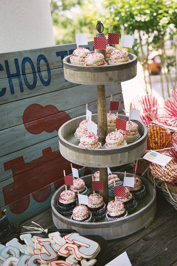 red and white cupcakes for a train themed party