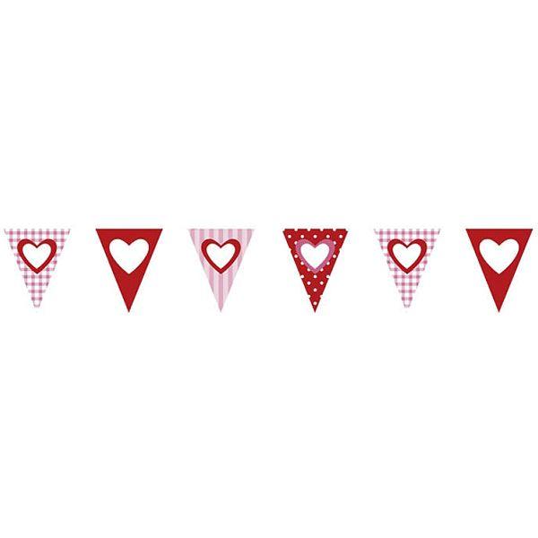 Romantische, papieren vlaggenlijn met hartjes. (ong. 4 meter)