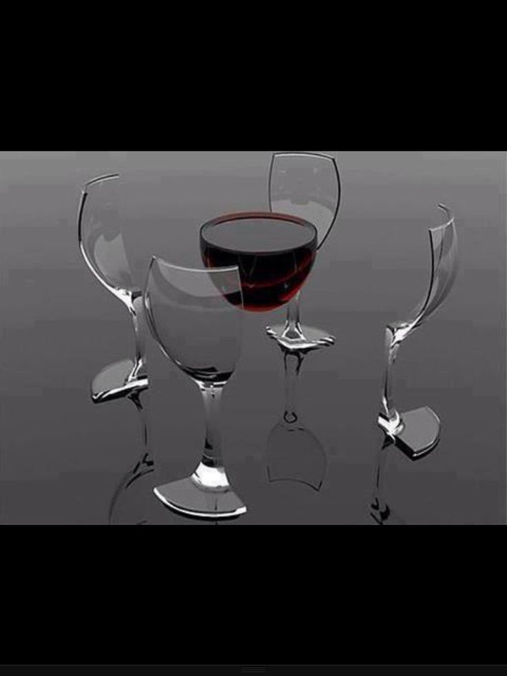 Digital art. Deconstructing a glass of wine.