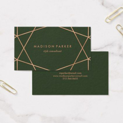 Modern faux rose gold geometric on dark green business card simple simple modern faux rose gold geometric on dark green business card reheart