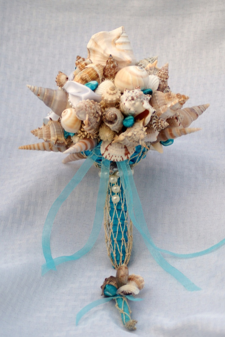 Blue Seashell Bouquet And Boutonniere Set Beach Wedding Destination Seaside