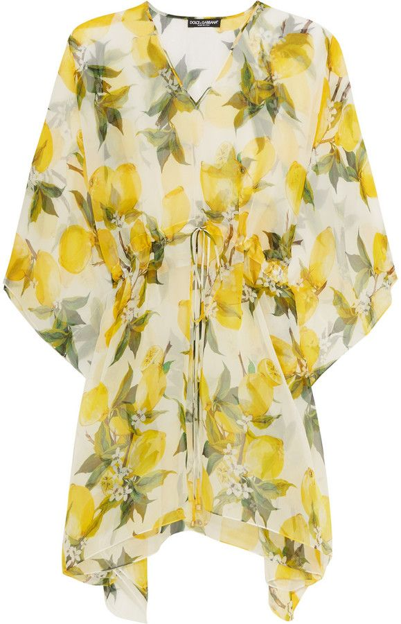 Beach & holiday fashion | must have | Dolce & Gabbana Printed Silk-Chiffon Kaftan | yellow lemon print | The Perfect Summer Cover-Up @monstylepin
