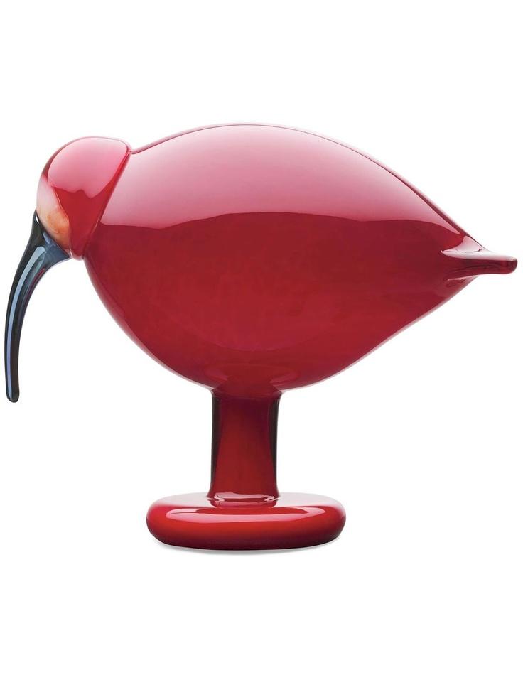 Red Ibix glass bird by Oiva Toikka for Iittala birds