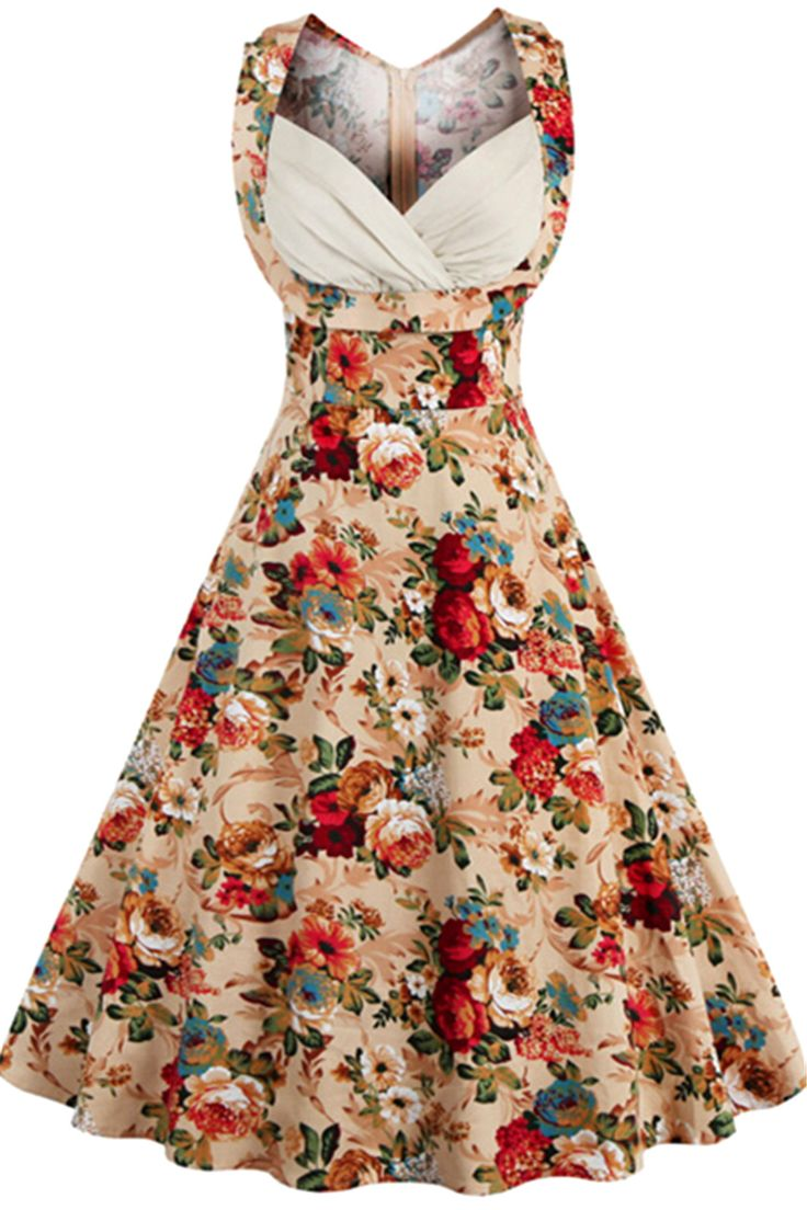 $22.00 Retro Style High-Waisted Floral Print Women's Dress