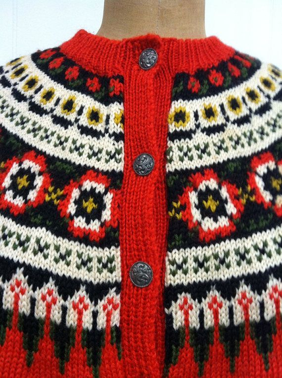 Fair Isle Norwegian Wool Sweater by CreatedAndCollected on Etsy