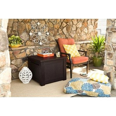 Rubbermaid Outdoor Storage Patio Chic Storage Cube 56 gal. - Brown