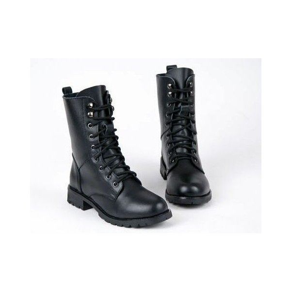 Black Military/Combat Boots ($18) ❤ liked on Polyvore featuring shoes, boots, laced boots, lacing combat boots, black boots, military lace up boots and army boots
