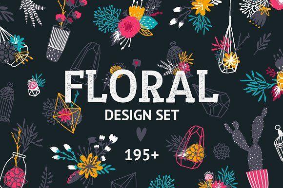 Floral design set 195+ by tatiletters on @creativemarket