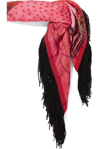 Sacai - Fringed Printed Satin Scarf - Red - one size