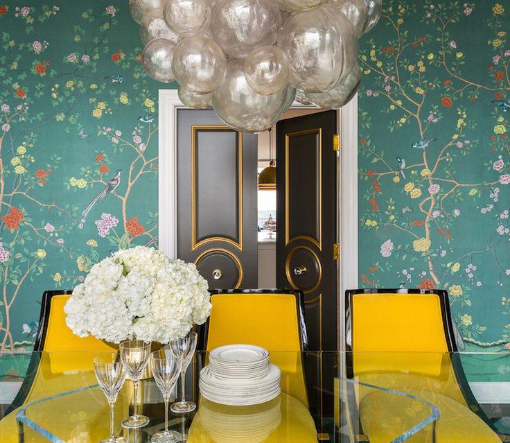 Teal Chinoiserie Wallpaper, Contemporary, Dining Room, Sherwin Williams Urbane Bronze, Tobi Fairley