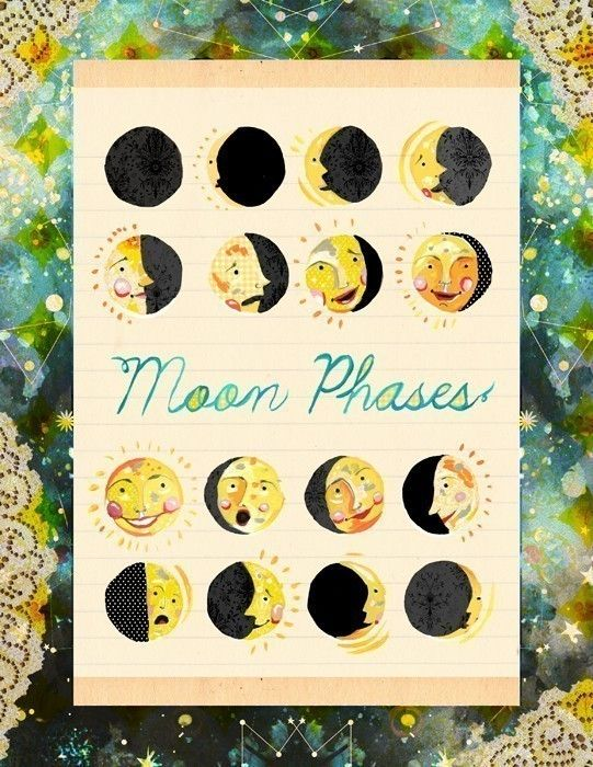Moon Faces 8 x 10. $18.00, via Etsy.: Artworks Beautiful, Paper Artwork, Moon Faces, Art Journals, Katy Daisies, Moon Phases, Moon Art, Science Classroom, The Moon