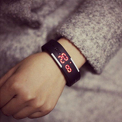 Popular Men's Women's Silicone Red LED Sports Bracelet Touch Watch Digital Wrist Watch - V-Shop