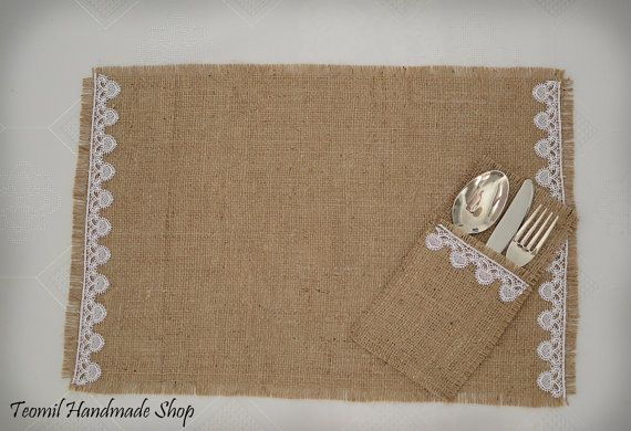 Burlap Placemat Silverware Holder for Rustic Country by Teomil, $54.00