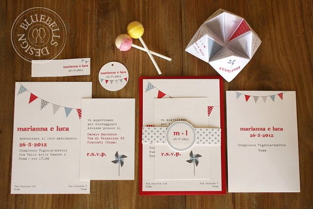 "BluebellsDesign: ""let's party"" wedding stationery"