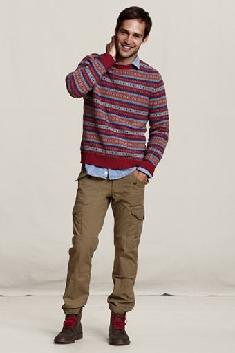 Lands' End Canvas Holiday Look - Fair Isle Crewneck Sweater ...